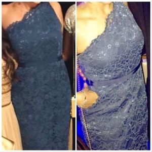 Adrianna Papell Full Length Teal Blue Lace Gown 4